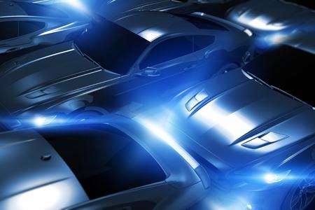 motorsport: Performance Vehicles in Stock. Glowing in Dark