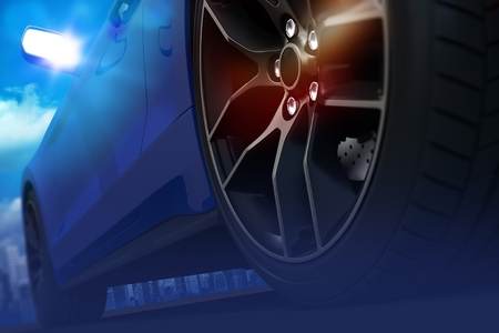 Hard Car Drifting Concept Illustration. Sports Car Alloy Wheel Closeup.