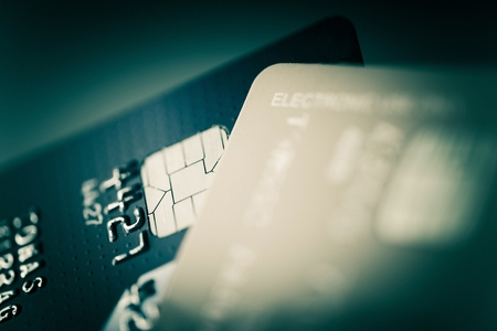 scamming: Credit Cards Closeup Photo. Financial and Banking Concept