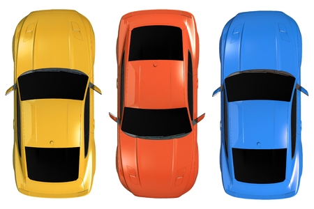 coupe: Isolated Cars Aerial 3D Illustration. Cars From Above.