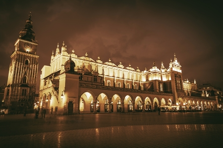 grading: Krakow Main Square, Poland. Sepia Color Grading. Cracow Old Town in Night.