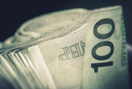 polish: Rolled Polish Zloty Banknotes. Stock Photo