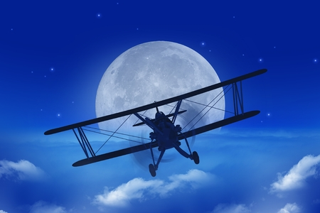 Full Moon Airplane Getaway Abstract Illustration. Flying Vintage Airplane Above the Clouds At Night.