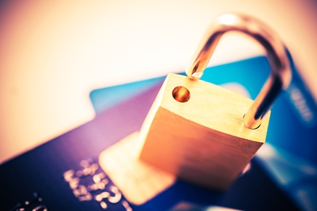 Not Safe Payments Concept. Padlock on Credit Cards Closeup Photo Concept. Stock fotó - 56892208