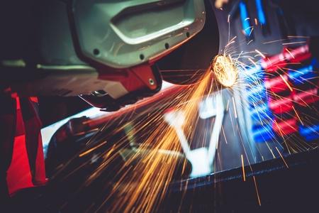 Garage Works Power Tool Metal Cut. Spinning Metal Cutting Tool. Pipe Cut. Construction Works.