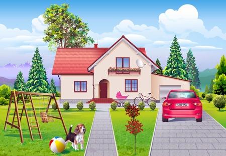 dream car: Ilustración única de la familia de vida ideal. Detrás de las paredes, coche de sueño y el perro. Ilustración feliz de la vida familiar.