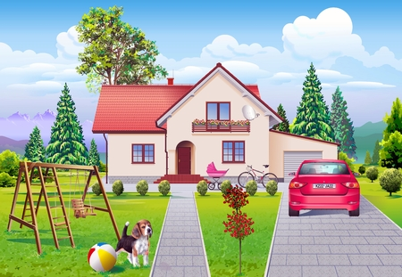 family life: Single Family Dream Life Illustration. Dream House, Dream Car and the Dog. Happy Family Life Illustration. Stock Photo