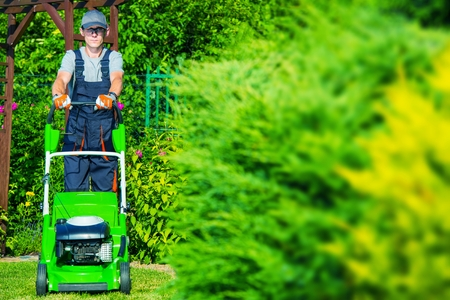 lawns: Caucasian Gardener Mowing the Grass Using Professional Grass Mower. Garden Works. Stock Photo