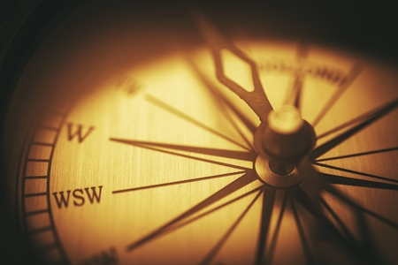 Vintage Compass Closeup. Aged Vintage Compass Background.