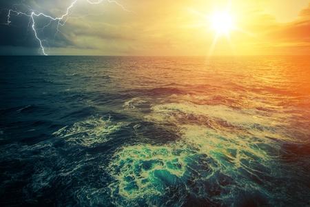 Stormy Sunny Ocean Panorama. Scenic Ocean View.