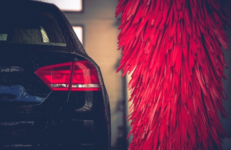 Brush Car Wash Car Cleaning. Red Car Wash Brushes Ready to Use. Reklamní fotografie