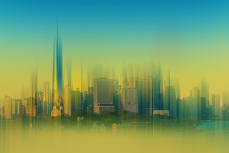 backdrop: Cityscape Abstract Background. New York City Backdrop Abstraction Blurs. Stock Photo