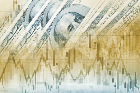nasdaq: America Dollars Forex Trade. Trading American Currency. Financial Concept Graphic. Stock Photo