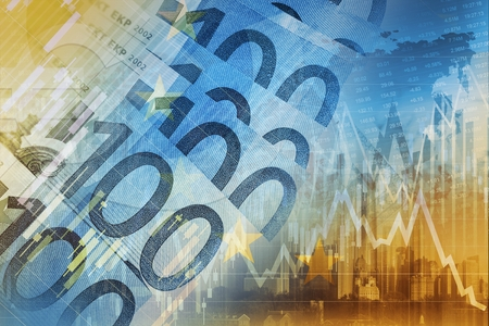 rise: Euro Money Trading Concept Graphic. European Union Currency Forex Trader.