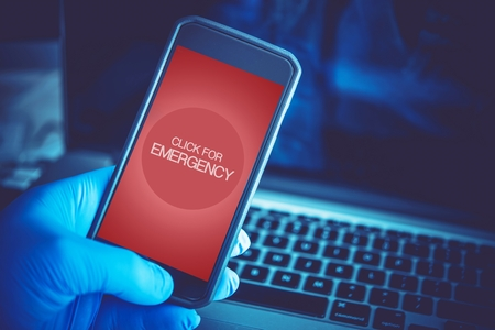emergency call: Emergency Mobile Application. Click For Emergency. Mobile Technology in Health Care and Medication. Stock Photo