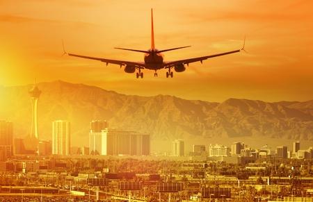 Vacation Airplane Trip to Las Vegas. Landing Aircraft in Las Vegas, Nevada, United States.
