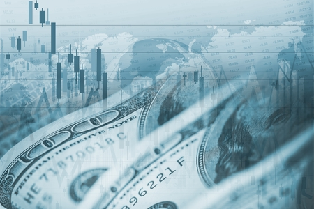 currencies: American Dollar Forex Currency Exchange. Financial Theme. Stock Photo