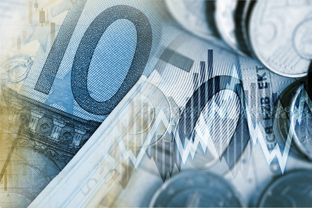 rise: Euro Money Trader Concept. European Currency Financial Conceptual Graphic. Stock Photo
