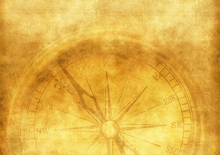 aged paper: Vintage Adventure Background with Vintage Compass. Aged Paper Texture.