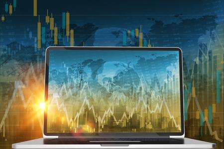 株式トレーダー コンピューター概念 3 D レンダリング図。世界の株式や通貨の取引します。