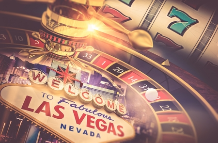 slot in: Las Vegas Gambling Concept. Roulette, Slot Machine and Las Vegas Welcoming Strip Sign. Playing in a Casino Conceptual Illustration.