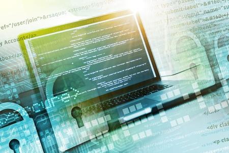 website: Developing Safe Website. Secured Website Programming. Stock Photo