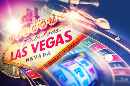 spinning: Las Vegas Roulette and Slot Games. Vegas Gambling Concept.