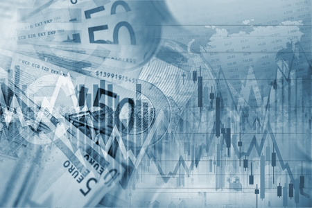 Forex Trading Blue Concept Background Illustration with Forex Graph Stats. Imagens