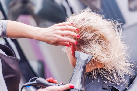 profesional: Beauty Studio Hairstylist Business. Hairdresser Drying Clients Hair by Professional Blower Dryer. Stock Photo
