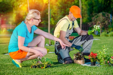 Gardener Landscaper Working with Client Taking Orders and Listening Clients Ideas For New Garden Development. Landscaping Business. Stockfoto