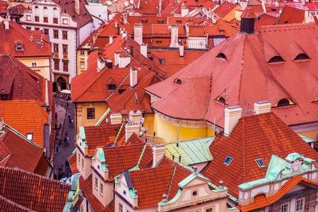 bird view: Prague Czechia Architecture. Old Town Buildings Roofs From Bird View. Prague, Czech Republic, Europe.