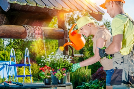 backyard woman: Married Young Couple Working in Their Backyard Garden. Woman Watering Flowers and Her Husband Preparing For Plants Trimming. Couples Taking Care of Backyard Garden. Garden Hobby. Stock Photo