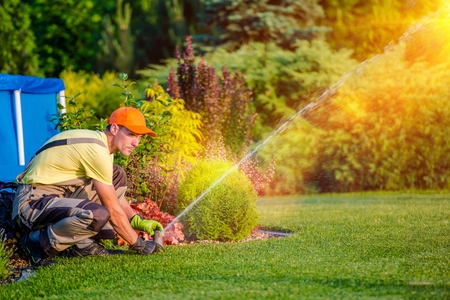 Garden Watering Systems. Garden Technician Testing Watering Sprinkler System in the Residential Garden. Archivio Fotografico