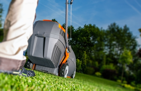 lawn mowing: Summer Lawn Mowing and Backyard Landscaping. Men with Grass Mower.