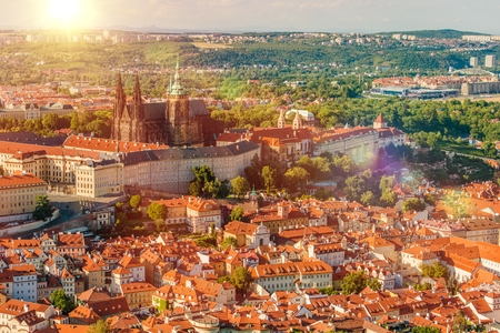 czechia: Prague Czechia Czech Republic Summer Cityscape with Castle and the Cathedra. Prague, Europe. Stock Photo