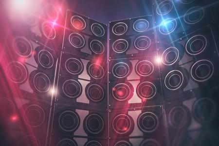 Disco altoparlanti sfondo. Grandi altoparlanti eventi e Disco Lights Background. Rendering 3D illustrazione.