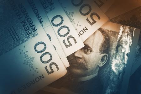 노르웨이 크로네 지폐 근접 사진입니다. 노르웨이 통화 개념. 스톡 콘텐츠