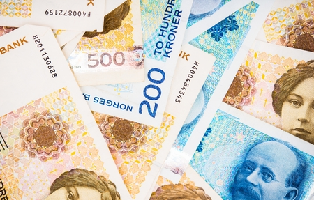 business loans: Krone Banknotes Closeup Photo. Norwegian Krone Currency. Stock Photo