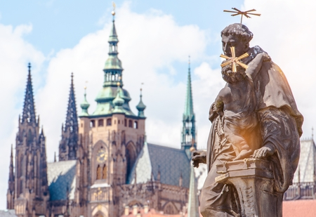 charles bridge: Prague Czechia Place. Charles Bridge Sculpture. Czech Republic, Europe. Stock Photo