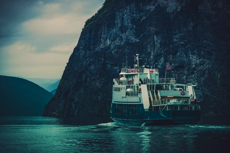 water transportation: Norwegian Fjord Ferry. Scandinavian Water Transportation Systems.