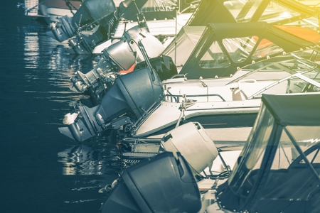 motorboats: Row of Motorboats in Marina. Motorboats Powerful Engines. Stock Photo