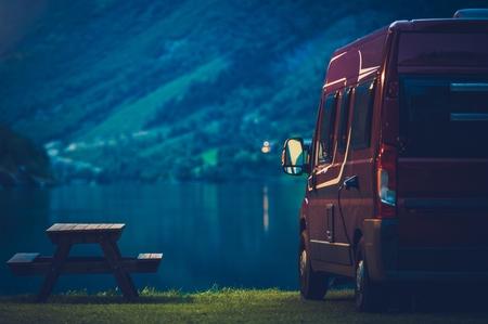 RV Camping at Night. Small Camper Van Overnight Camping.