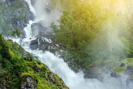 Scenic Waterfall in the Norway. Scenic Norwegian Landscape. Stock fotó