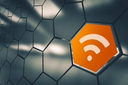 WiFi Network Availability Concept 3D Render Illustration. Wireless LAN Network Icon. Full Range. 免版税图像