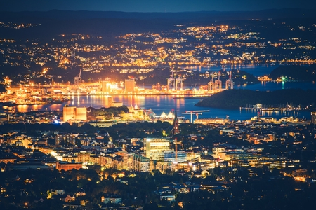 oceanfront: Illuminated Oslo, Norway at Night. City of Oslo Night Panorama.