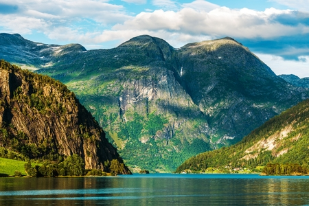 Norwegian Scenic Landscape. Oppstryn, Norway Scenic Glacial Lake in Summer.