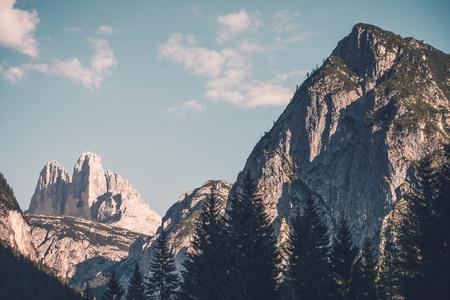 destination scenics: Dolomites Laverado Peaks. Tre Cime di Lavaredo Summer Mountain Scenery. Stock Photo