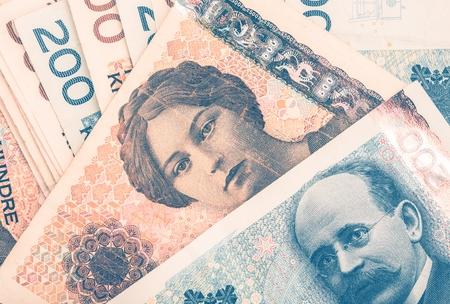 노르웨이 크로네 현금 현금 사진 확대 사진 스톡 콘텐츠