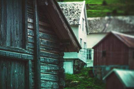 노르웨이어 목조 건축 근접 촬영 사진. 노르웨이, 유럽.