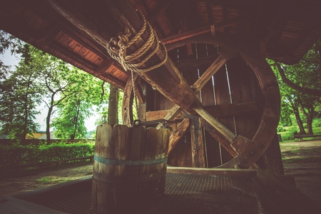 well: Vintage Wooden Well Closeup Photo.
